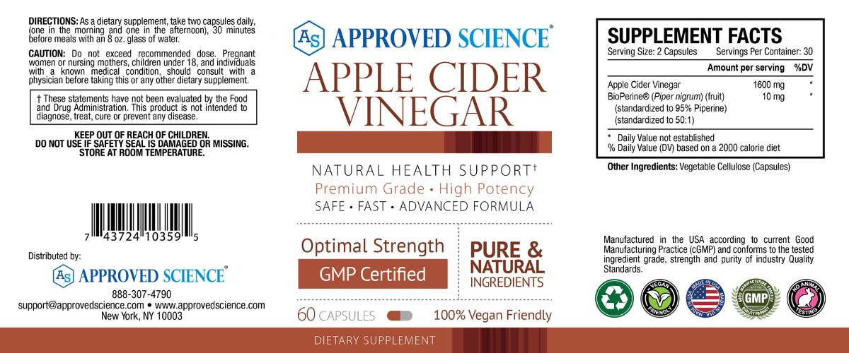Approved Science ACV Supplement Facts